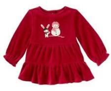 Gymboree Bunny &  Snowman Red Soft Velour Alpine Sweetie Swing Ruffle TOP 18-24