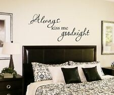 Vinyl Wall Decal-Always kiss me goodnight Wall Quote Decal Lettering Art