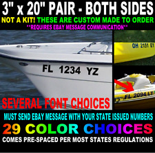 "REGISTRATION NUMBERS BOAT JET SKI UP TO 3"" x 22"" PAIR*"