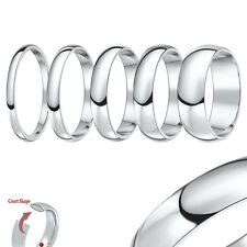 9ct White Gold Heavy Court Shaped Wedding Ring Band