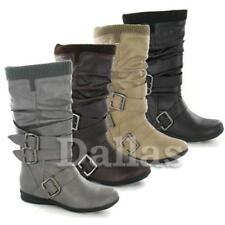 Ladies Womens Faux Leather Mid Calf Block Heel Biker Riding Winter Boots Shoes