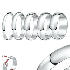9ct White Gold Xtra Heavy D Shaped Wedding Ring Band