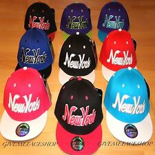 NEW YORK SNAPBACK CAPS, RETRO VINTAGE FLAT PEAK HAT, NY FITTED HIP HOP BLING CAP