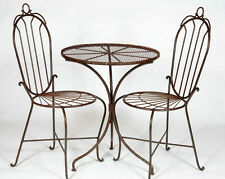 2 Wrought Iron Federal High Back Chairs and Table Set - Patio Furniture to Last