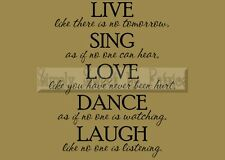 LIVE SING LOVE Vinyl Wall Saying Lettering Quote Art Decoration Decal Sign Craft