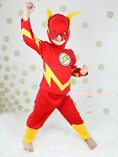 Halloween Children Costume Red Flash Outfit Set Dress Up Party Kid Clothing 2-7Y