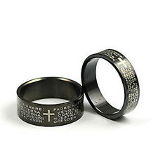 Black Cross Lord's prayer stainless steel ring different sizes