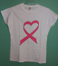 Breast Cancer Ribbon Heart Women's White Fitted T-Shirt