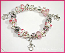 EUROPEAN STYLE silver CHARM BEAD BRACELET pink angels