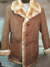 Marlboro Shearling Sheepskin Fur Coat Jacket Brown