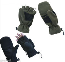 Sniper GLOVES Fingerless Gloves to Mittens Convertible Black OD Fleece Small-2XL