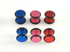 Red Blue Pink Stainless Steel Fake Cheater Ear Plugs Earrings Look 0G 8mm 1 Pair