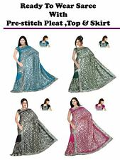 Ready to wear wedding Embroidery Sequin Saree sari blouse,skirt pre-stitch pleat