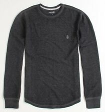 Volcom Stone Eleventh Burnout Faded Charcoal Gray Mens Thermal Shirt T-Shirt NWT