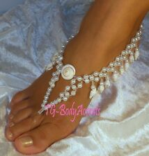 Barefoot Sandals - Foot Jewelry -  Wedding - Dangling Shells & Pearls   2pc