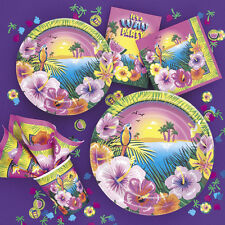 LUAU PARTY HAWAIIAN TROPICAL TABLEWARE CUPS PLATES TABLECLOTH ALL IN THIS ADVERT