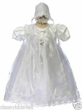 BABY Infant Toddler GIRL CHRISTENING GOWN BAPTISM DRESS W/BONNET 18-36 month