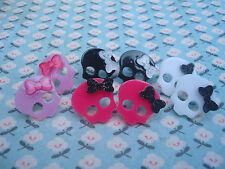 ♥FUNKY PUNK GIRL SKULL EARRINGS KITSCH CANDY GOTH EMO BOW PIRATE PICK COLOUR♥