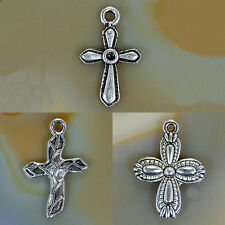 Metal Cross Silver Plated Pendant 13x18mm 18x27mm