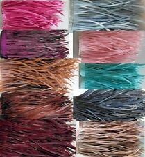 40 GOOSE BIOT FEATHERS ON FRINGE PURPLE NAVY PINK AQUA BROWN BEIGE COFFEE ETC
