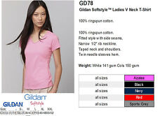 Gildan GD58 Personailsed Custom Printed Hen V-Neck Ladies Fit T-Shirts Tshirt