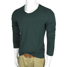 2012 New Mens Slim Fit Cotton V-Neck Long Sleeve Casual T-Shirt Tops Spring Sale