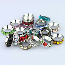 WHOLESALE LOTS 10MM CRYSTAL FINDINGS EUROPEAN BIG HOLE BEADS FIT CHARM BRACELETS