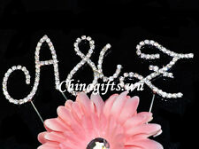 Crystal Clear  Rhinestone Diamante Monogram Initial Letter Cake Topper Wedding