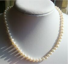 Classic Ivory Freshwater Pearl Necklace Choker AA White Sterling Wedding Bridal