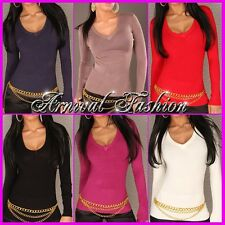 NEW SEXY LADIES KNIT JUMPER 6 8 10 12 14 WOMEN'S CASUAL SWEATER V NECK TOP black