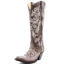 Corral Ladies Leather Cowboy Western Boots Brown/White Full Stitch Studs G1027