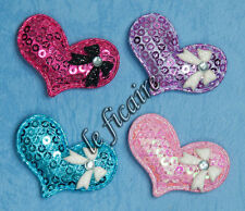 "U PICK COLOR~ 1.5"" Sequin Satin Heart Mini Bow Rhinestone Appliques x30pcs #2423"