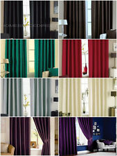 Faux Silk Eyelet Curtains - Silver, Red, Cream, Teal, Black, Purple & Brown NEW