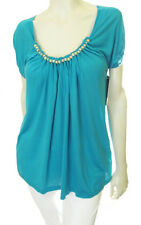 FRENCH CONNECTION Wood Bead Scoop Neck Cap Sleeve T-Shirt Tee Top - Emerald $98