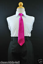 Boy Satin Long Tie Fuchsia Hot Pink matching Boy Suit Size 8 10 12 14  11 colors