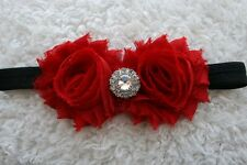 INFANT GIRLS BOUTIQUE VINTAGE CHIC SHABBY RED HEADBAND BABY GIFT PHOTO PROP CUTE