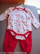 INFANT CHRISTMAS 2 PC SET ONE PC AND PANTS ONE PC SAYS BABYS FIRST CHRISTMAS