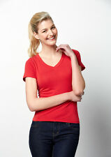 Ladies Short Sleeve V Neck Top Shirt 3 Colours Size 8-20 Jersey T-Shirt New T968