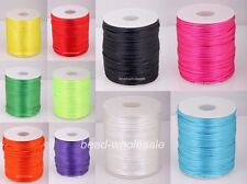 10m Nylon Chinese Knot Satin Macrame Beading Jewelry Rattail Cords 2mm 10 Colors