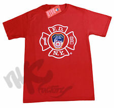 MENS RED FDNY T-SHIRT FIRE DEPT NEW YORK CITY OFFICIAL NEW PRINT STYLE