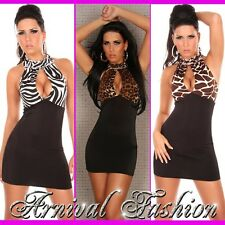 NEW WOMENS SEXY CLUBWEAR HALTER NECK DRESS 6 8 10 LADIES EVENING PARTY WEAR S M