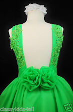 Children Girls National Pageant Chiffon Dress Lime Green Sz 3 4 5 6 7 8 10 12 14