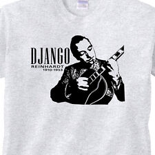 DJANGO Jazz Guitarist T Shirt Retro Django Reinhardt GREY T-Shirt Guitar Hero