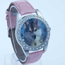 Big Wild Animal Wolf Leather Analog Crystal Watch Xmas Gift L16
