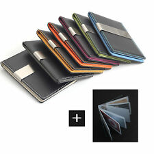 MATTE Money Clip Wallet 7 Color Faux Lather Card Holder -FREE Laser Engraving-