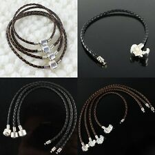 WHOLESALE DIFFERENT SIZE BLACK/COFFEE LEATHER FINDINGS EUROPEAN CHARM BRACELETS