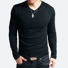 4COLORS Arrival Men's Muscle V Neck Basic Tee Tops Long Sleeve T-Shirt XS S M L