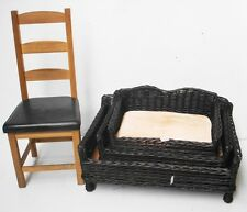 GIANT HUGE BIG XL WICKER WILLOW PET BED BASKET SOFA COUCH WITH PADDED CUSHION