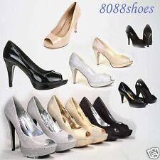 Women's Sexy Silver Glitter Peep Toe High Heel Platform Bridal Evening Shoes