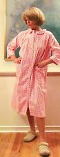 "Duster, Robe, Flannel Cotton, Pink Check Great Quality ""Made in USA"""